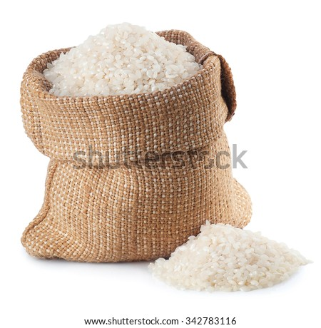 rice in burlap bag isolated on white background - stock photo