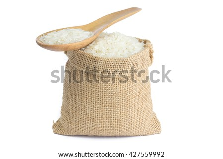 rice in burlap sack on white background