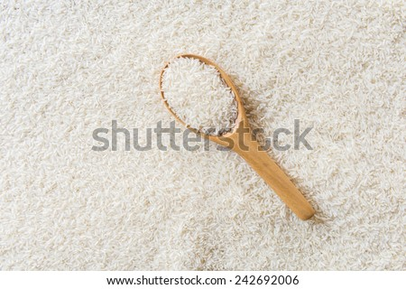 rice in wooden Spoon on rice background - stock photo