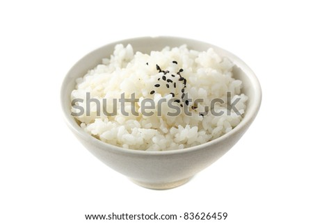 Rice isolated in white background - stock photo