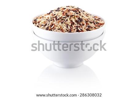 Rice mix. brown rice, red rice, yellow rice. - stock photo