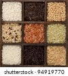 Rice nine varieties in printers box, jasmine, wild, white, pearl, forbidden, madagascar, jade, arborio,basmati, and barley - stock photo