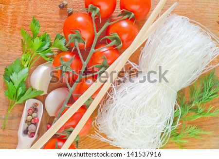 rice noodles and spice - stock photo