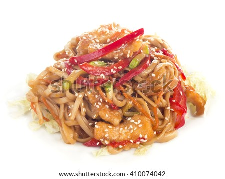 rice noodles with shrimp and vegetables close-up