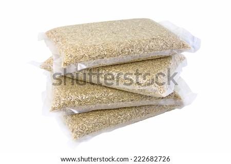 rice pack in plastic vacuumed bag - stock photo