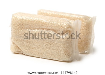 Rice pack isolated on white background - stock photo