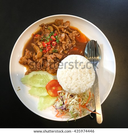 Rice pork steak in a spicy with salad - stock photo
