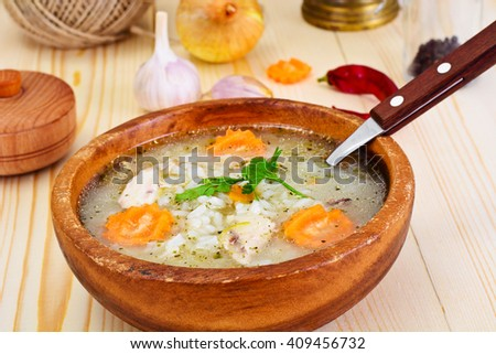 Rice Soup with Chicken Studio Photo