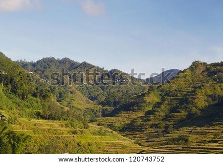 Rice terraces on Philippines mountains, Ifugao region, Banaue city. Panoramic picture - stock photo