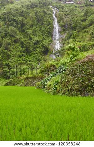 Rice terraces on Philippines mountains, Ifugao region, Bangaan village - stock photo