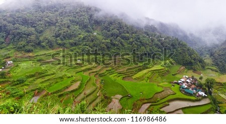 Rice terraces on Philippines mountains, Ifugao region, Bangaan village. Panoramic picture - stock photo