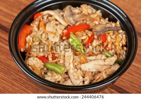 Rice with chicken and vegetable - stock photo