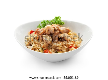 Rice with Chicken Slice, Cabbage, Mushrooms and Paprika - stock photo