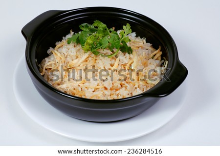 Rice with chicken slivers, typical Vietnamese cuisine so called COM GA XE - stock photo
