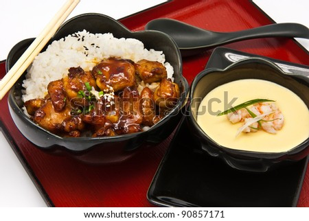 Rice with Chicken Teriyaki and Chinese Steam egg on white background - stock photo
