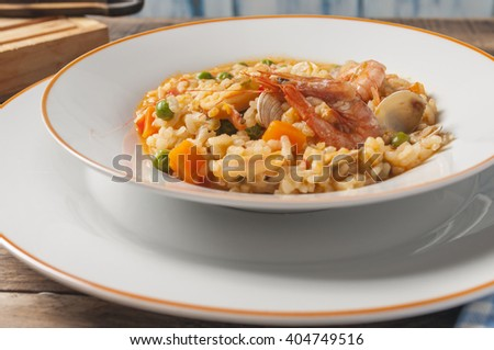 Rice with clams shrimp and squid