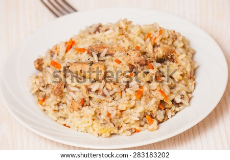 rice with fish - stock photo