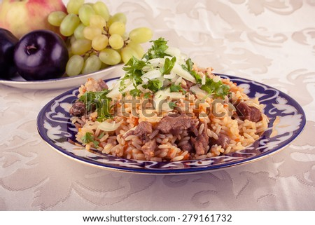 Rice with meat, carrot and onion in vintage look, toned