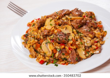 Rice with meat, vegetables and mushrooms on plate
