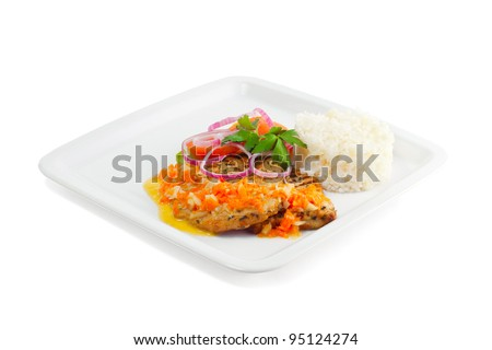 Rice with meat, vegetables and sauce on a white background - stock photo