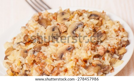 rice with minced meat and mushrooms - stock photo