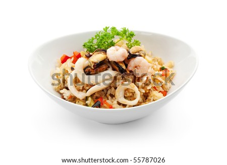 Rice with Seafood, Cabbage, Mushrooms and Paprika - stock photo