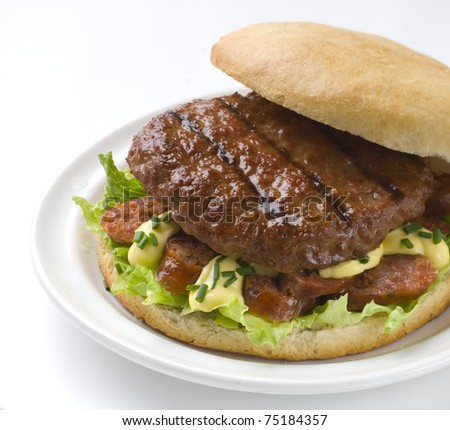 rich and fresh hamburger with lettuce, mayonnaise and choris