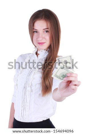 Rich businesswoman. Money. One hundred dollars. Happy woman.