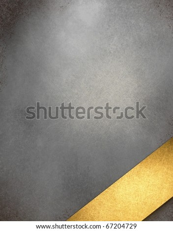 rich elegant gray silver tones on leathery textured background illustration with graphic art design layout angled gold stripe with blank copy space to add your own text or title; highlight and grunge - stock photo