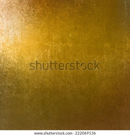 rich gold background with grunge texture border, light bright corner spotlight or sunshine pattern on wall. vintage shadow black frame design, old distressed shabby background layout - stock photo
