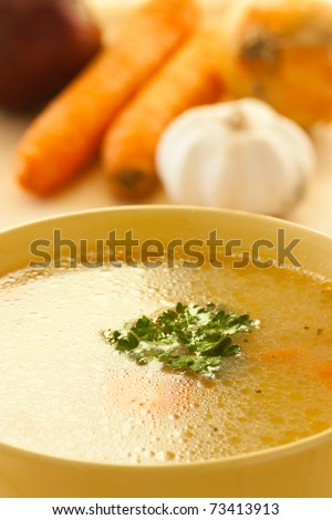 Rich healthy vegetable soup with noodles. - stock photo