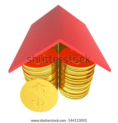 Rich house 3d - stock photo