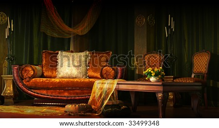 Rich-looking sofa and table - stock photo