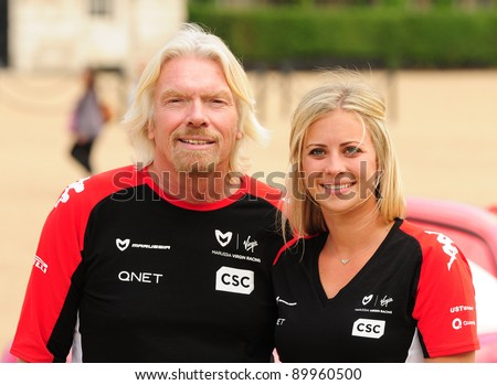 Richard and Holly Branson at a photocall to promote the new Disney Pixar Film Cars 2 with Marussia Virgin Racing. Horse Guards Parade London  04/07/2011 Picture by: Simon Burchell / Featureflash - stock photo