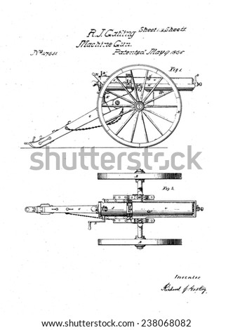 Richard Gatling's patent for the 'Gatling Gun' RICHARD J GATLING - stock photo