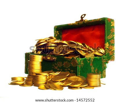 Riches, gold coins in a chest isolated on white - stock photo
