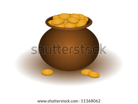 Riches symbol: the clay pot filled with gold coins
