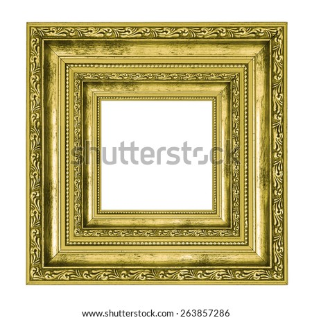 richly decorated golden square frame isolated on white background - stock photo