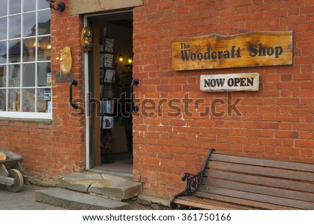 RICHMOND, AUSTRALIA - NOVEMBER 10: Shopfronts in the historic convict town of Richmond Noember 10, 2015 in Richmond, Australia - stock photo