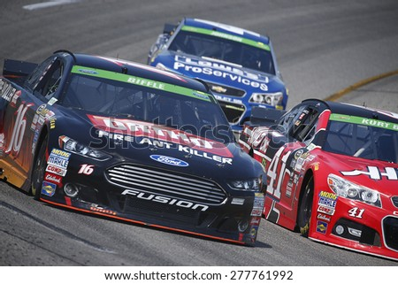 Richmond, VA - Apr 24, 2015:  Greg Biffle (16) brings his race car through the turns during a practice session for the Toyota Owners 400 race at the Richmond International Raceway in Richmond, VA. - stock photo