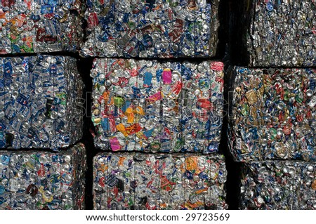 RICHMOND, VA - CIRCA 2009: Baled aluminum cans at an undisclosed recycling facility circa 2009 in Richmond. The cans will be shipped to an aluminum foundry. - stock photo
