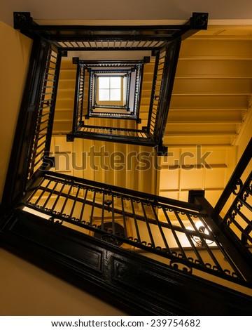 RICHMOND, VIRGINIA - DECEMBER 14: Staircase in the Virginia State Capitol on December 14, 2014 in Richmond, Virginia - stock photo