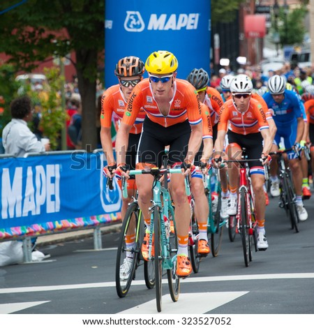 RICHMOND, VIRGINIA - SEPTEMBER 27: Cyclists compete in the elite men's road race at the UCI Road World Championships on September 27, 2015 in Richmond, Virginia