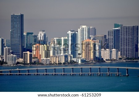 Rickenbacker Causeway and the Miami Skyline - stock photo
