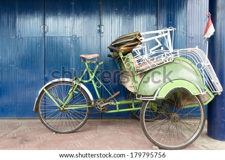 Rickshaw in Yogykarta, Indonesia - stock photo