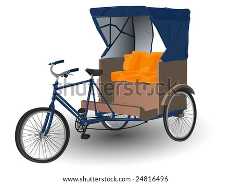 Rickshaw Pulled by Bicycle Illustration - stock photo