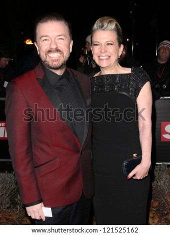 Ricky Gervais and wife Jane arriving for The Sun Military Awards, at The Imperial War Museum, London. 06/12/2012 Picture by: Alexandra Glen