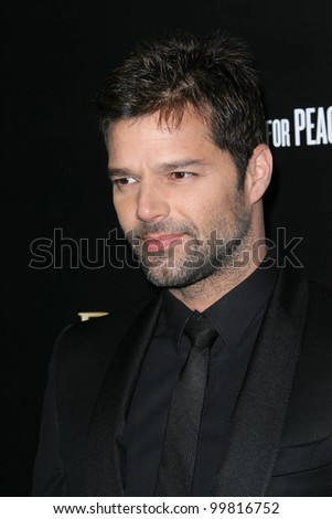 Ricky Martin at a Bvlgari Private Event Honoring Simon Fuller And Paul Haggis To Benefit Save The Children And Artists For Peace And Justice, Private Location, Beverly Hills, CA. 01-13-11 - stock photo