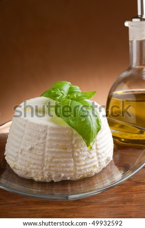 ricotta with  bottle of olive oil - stock photo