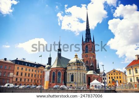Riddarholmen church in Stockholm, Sweden - stock photo